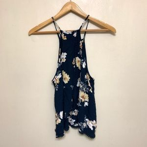American Eagle Floral Open Back Tank Top